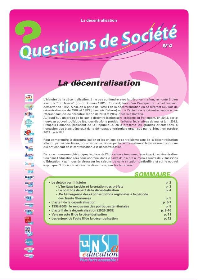 La décentralisation            de S o ciétéQ uest ions                                                                    ...