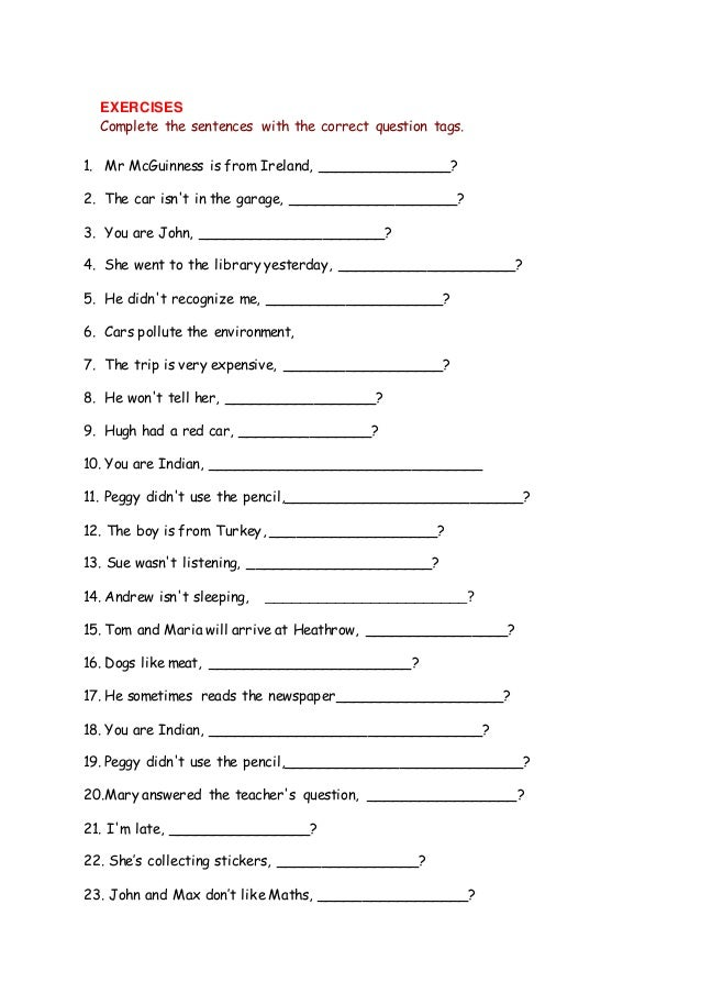 Tag Questions Worksheet The Correct Question Tags