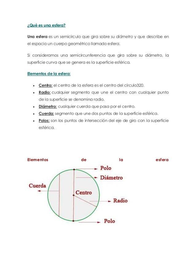 ¿Qué es una esfera?Una esfera es un semicírculo que gira sobre su diámetro y que describe enel espacio un cuerpo geométric...