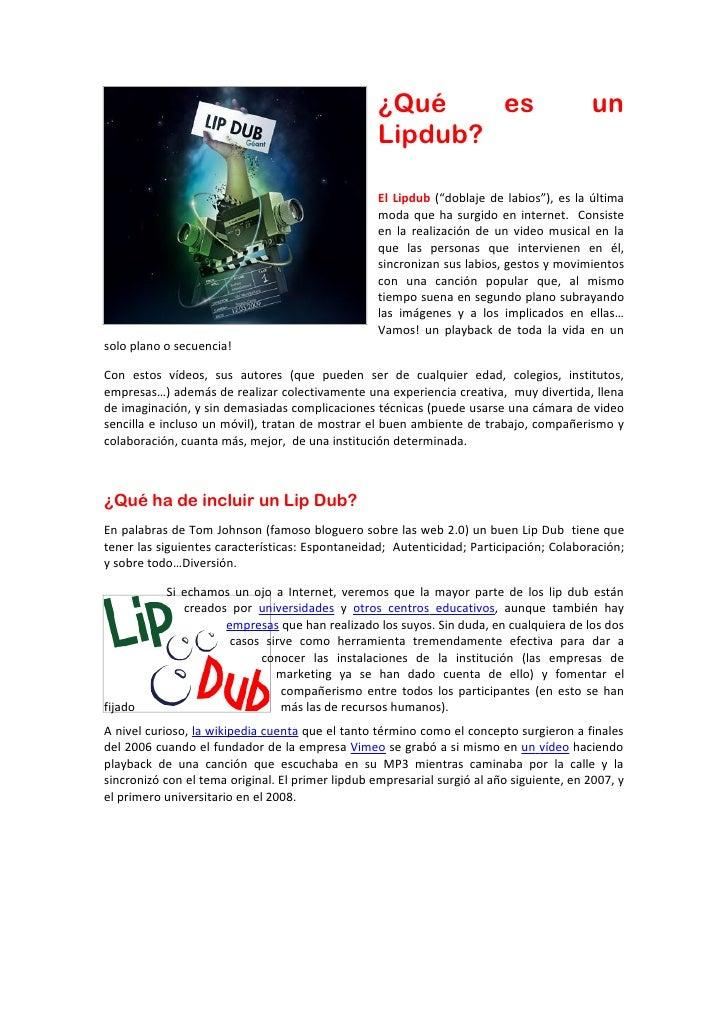 ¿Qué    es                             un                                                   Lipdub?                       ...