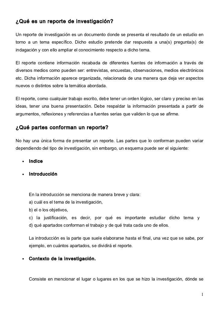 Qué Es Un Reporte De InvestigacióN