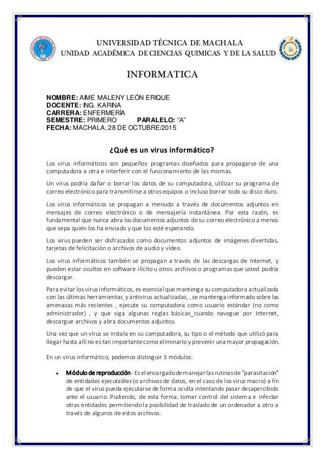 UNIVERSIDAD TÉCNICA DE MACHALA UNIDAD ACADÉMICA DE CIENCIAS QUIMICAS Y DE LA SALUD INFORMATICA NOMBRE: AIME MALENY LEÓN ER...