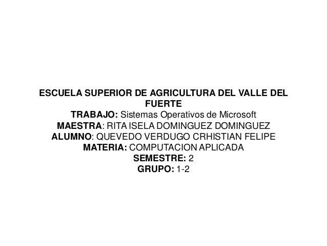 ESCUELA SUPERIOR DE AGRICULTURA DEL VALLE DEL                    FUERTE     TRABAJO: Sistemas Operativos de Microsoft   MA...