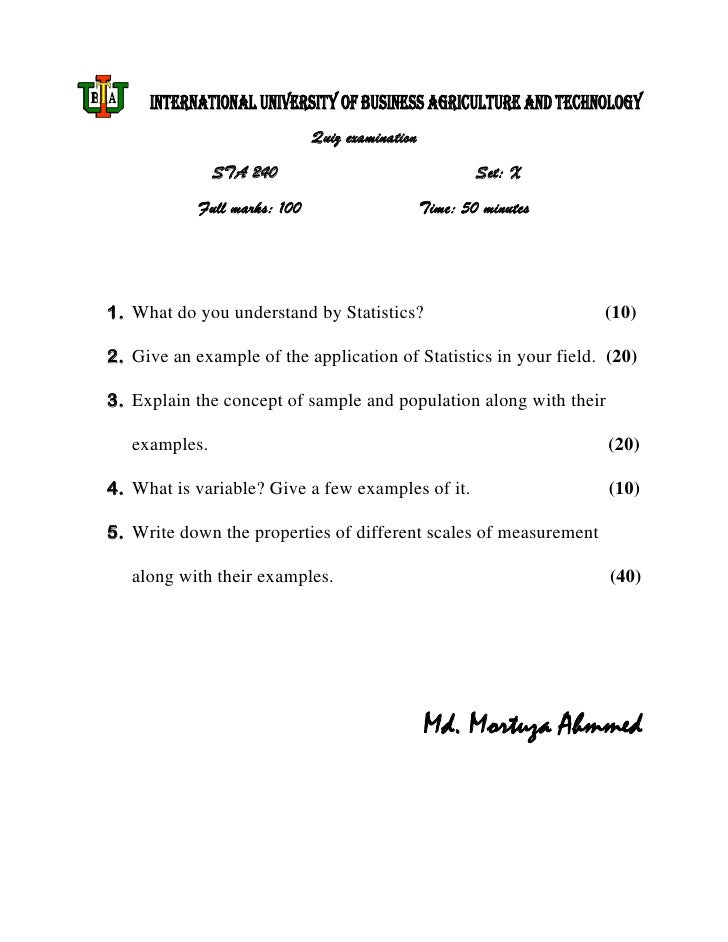 INTERNATIONAL UNIVERSITY OF BUSINESS AGRICULTURE AND TECHNOLOGY                              Quiz examination             ...