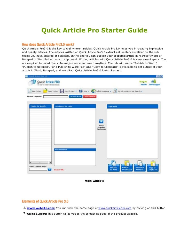 Quick Article Pro starter guide