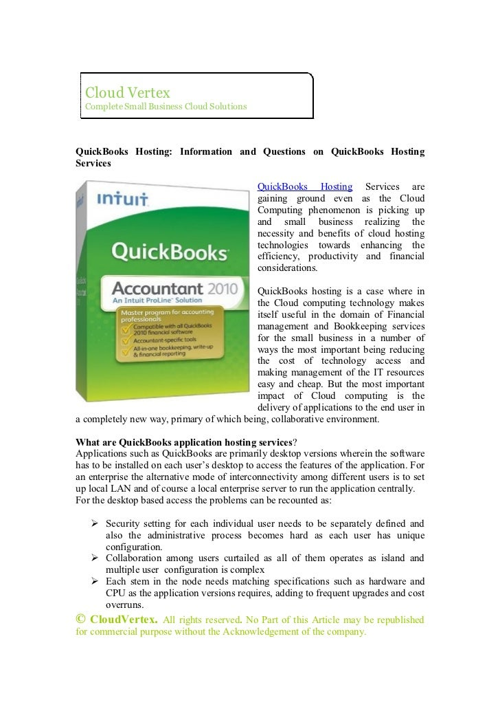 Quick books hosting  Information and Questions on Quickbooks Hosting Services