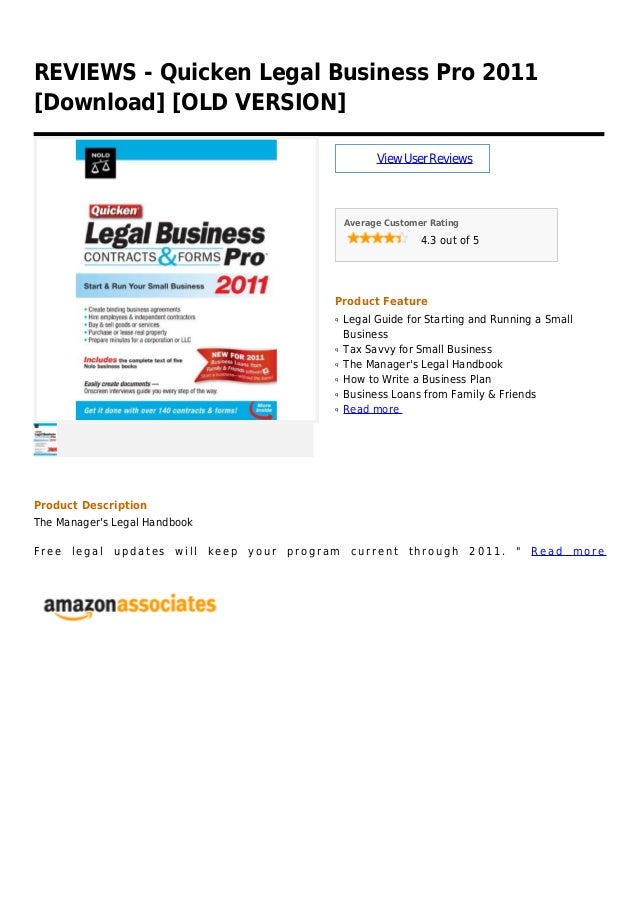 REVIEWS - Quicken Legal Business Pro 2011[Download] [OLD VERSION]ViewUserReviewsAverage Customer Rating4.3 out of 5Product...