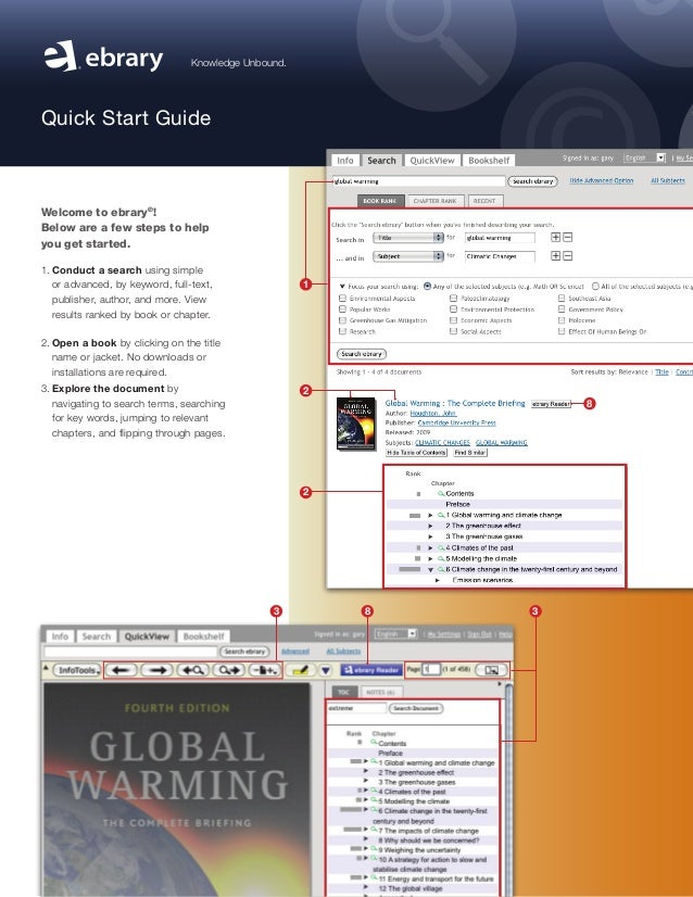 Knowledge Unbound. Quick Start Guide Welcome to ebrary® ! Below are a few steps to help you getstarted. 1.Conduct a sear...
