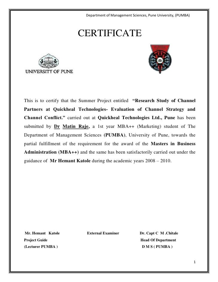 "CERTIFICATE<br />444576227024<br />This is to certify that the Summer Project entitled  ""Research Study of Channel Partner..."