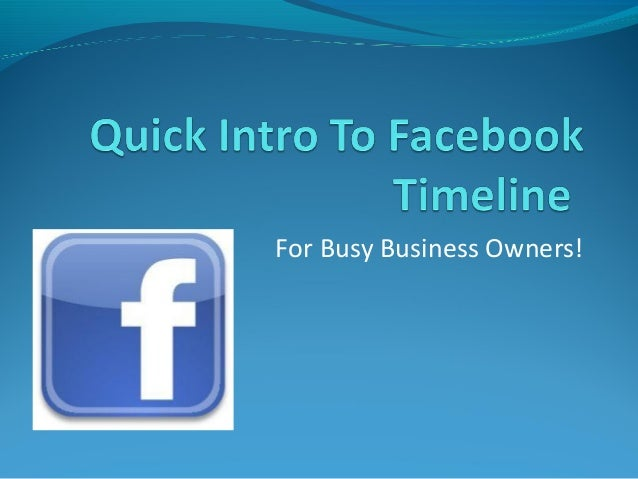 Quick Intro To Facebook Timeline. Local SEO Ranking Services