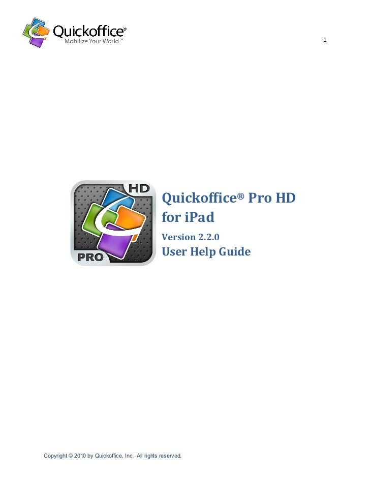 Quickoffice for i pad help guide