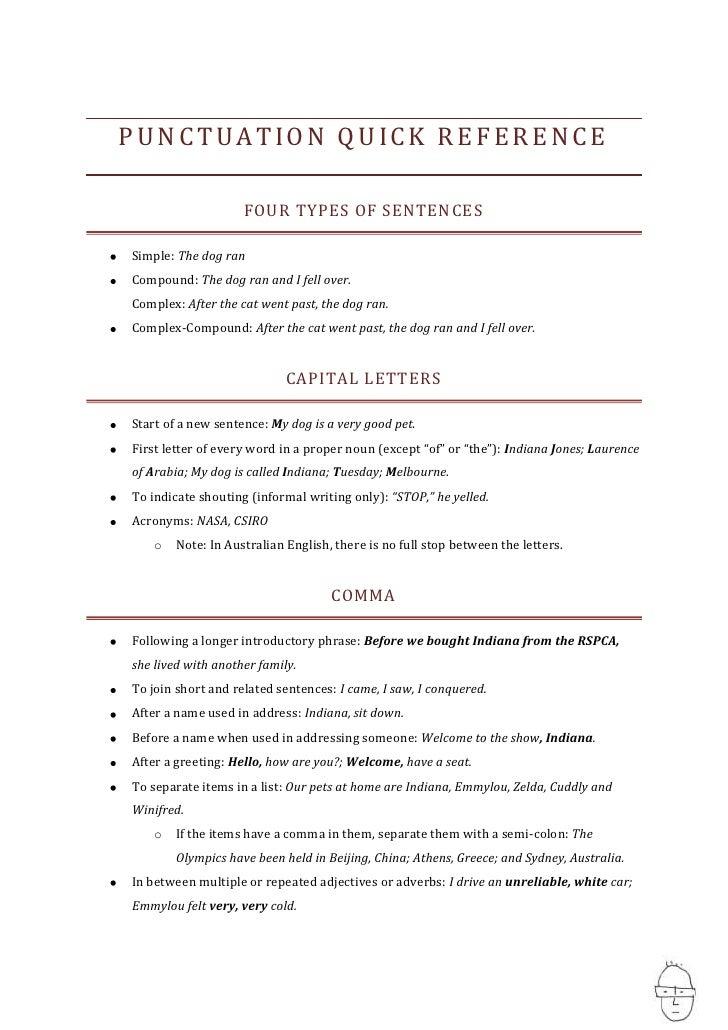 Quick Punctuation Guide