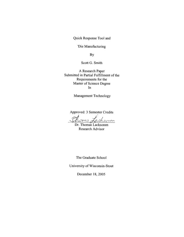 quick response manufacturing thesis On nov 8, 2006 joing, matthew j (matthew john), published: applicability of lean manufacturing and quick response manufacturing in a high-mix low-volume environment.