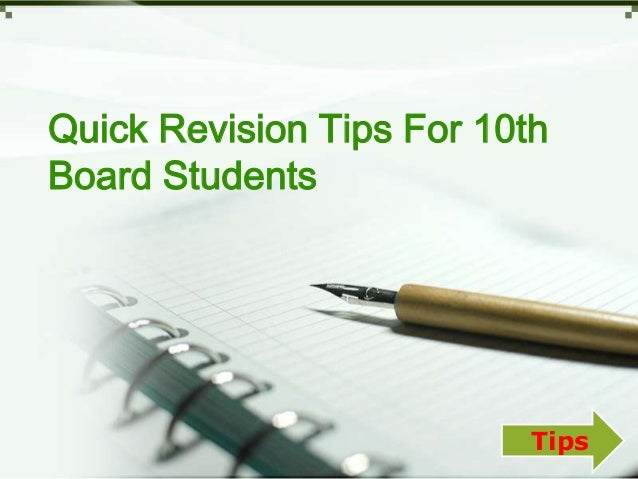 Quick Revision Tips For 10th Board Students, Study Tips For 10th Class Students