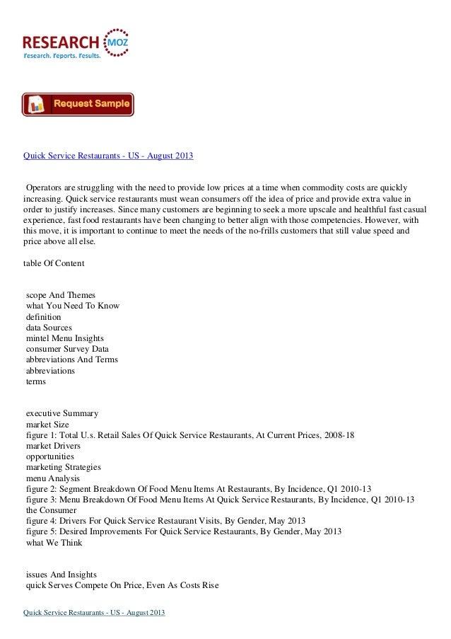Quick Service Restaurants Market in US to August 2013
