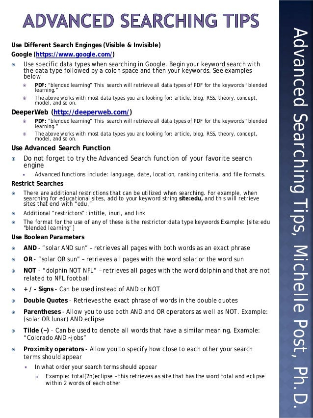 Quick sheet advanced searching tips