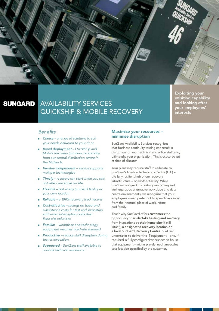 SunGard Quickship and Mobile Recovery