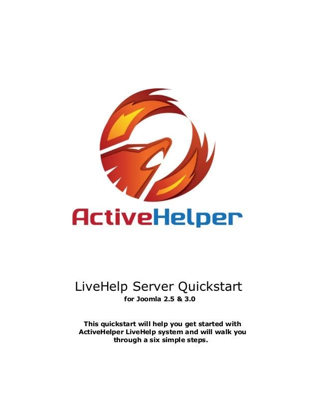 ActiveHelper LiveHelp Server Quickstart for Joomla 2.5 & 3.0