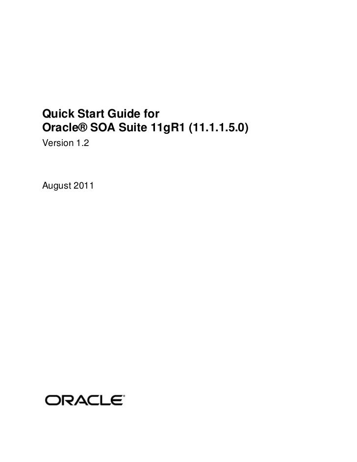 Quick Start Guide forOracle® SOA Suite 11gR1 (11.1.1.5.0)Version 1.2August 2011