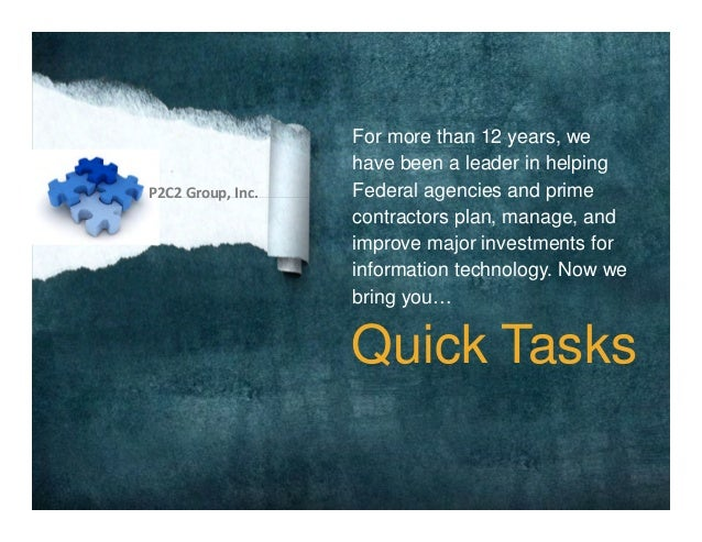 For more than 12 years, wehave been a leader in helpingFederal agencies and primecontractors plan, manage, andimprove majo...