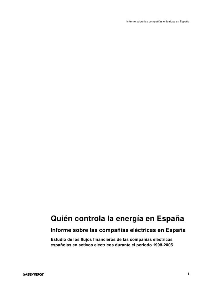 InformesobrelascompañíaseléctricasenEspaña     QuiéncontrolalaenergíaenEspaña Informesobrelascompañíaseléct...