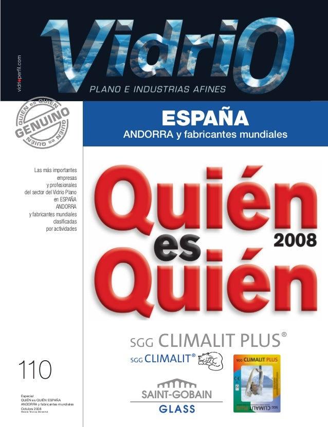 Lomo 17 mm  110 Octubre 2008 REVISTA DEL VIDRIO PLANO E INDUSTRIAS AFINES  Revista Técnica Bimestral  Especial QUIÉN es QU...