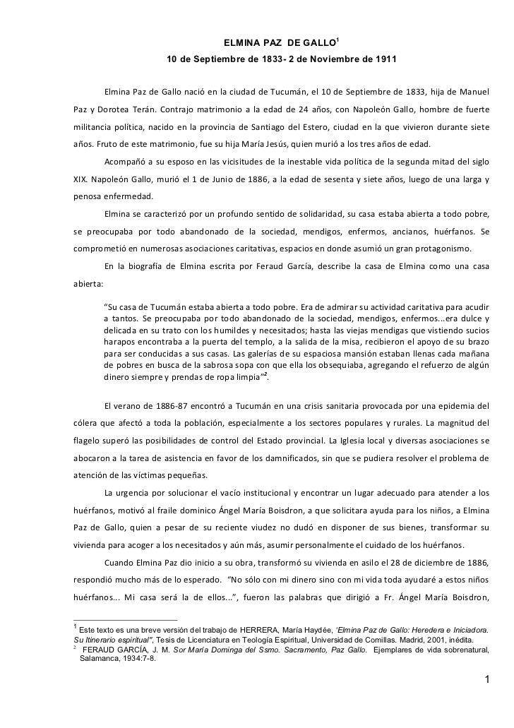 ELMINA PAZ DE GALLO1                           10 de Septiembre de 1833- 2 de Noviembre de 1911           Elmina Paz de Ga...