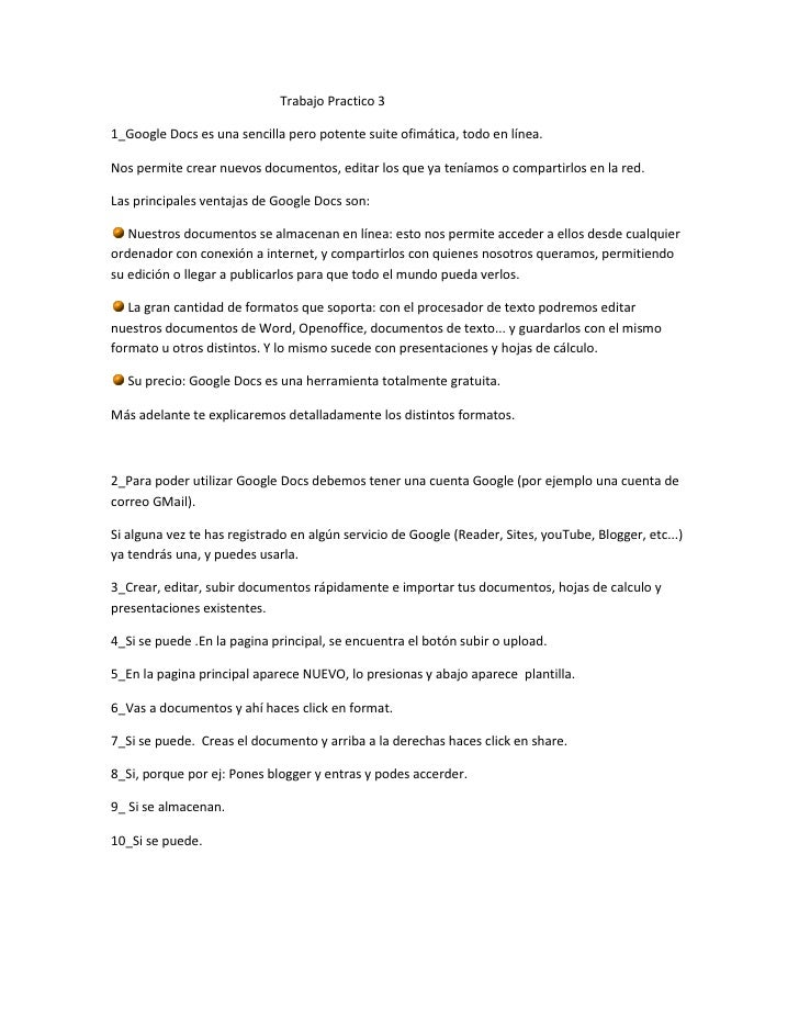 Trabajo Practico 31_Google Docs es una sencilla pero potente suite ofimática, todo en línea.Nos permite crear nuevos docum...