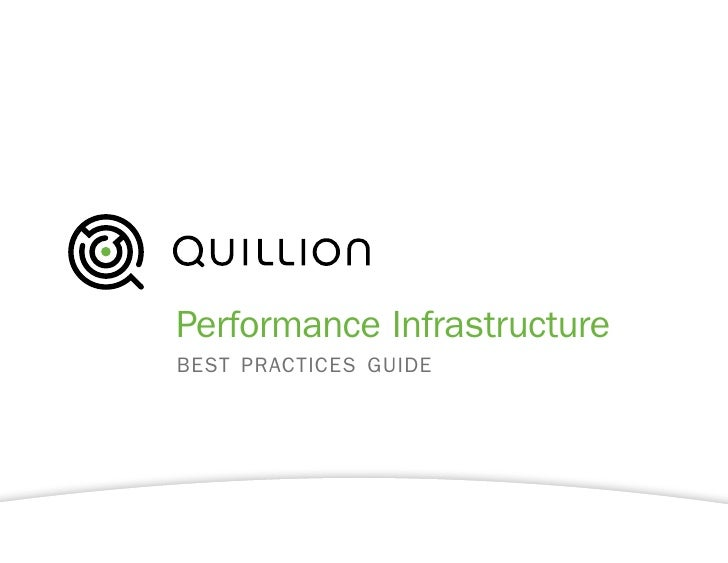 Performance Infrastructure best practices guide