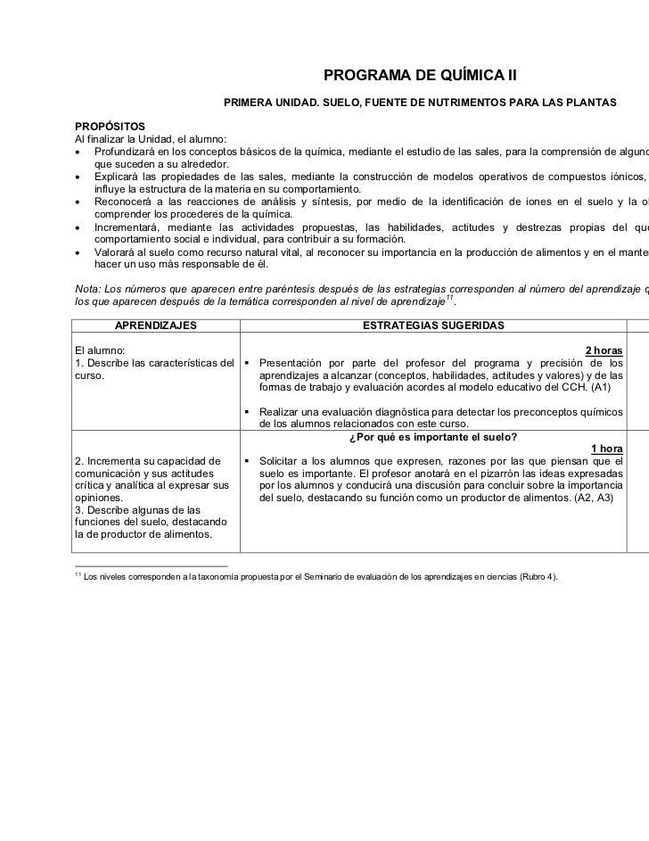 PROGRAMA DE QUÍMICA II                                         PRIMERA UNIDAD. SUELO, FUENTE DE NUTRIMENTOS PARA LAS PLANT...