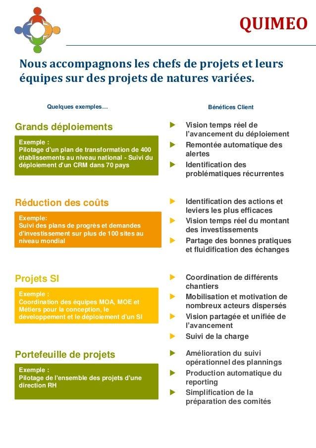 QUIMEO Nous accompagnons les chefs de projets et leurs équipes sur des projets de natures variées. Exemple : Pilotage d'un...