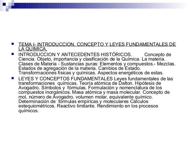  TEMA I- INTRODUCCION. CONCEPTO Y LEYES FUNDAMENTALES DE LA QUIMICA.  INTRODUCCION Y ANTECEDENTES HISTÓRICOS. Concepto d...