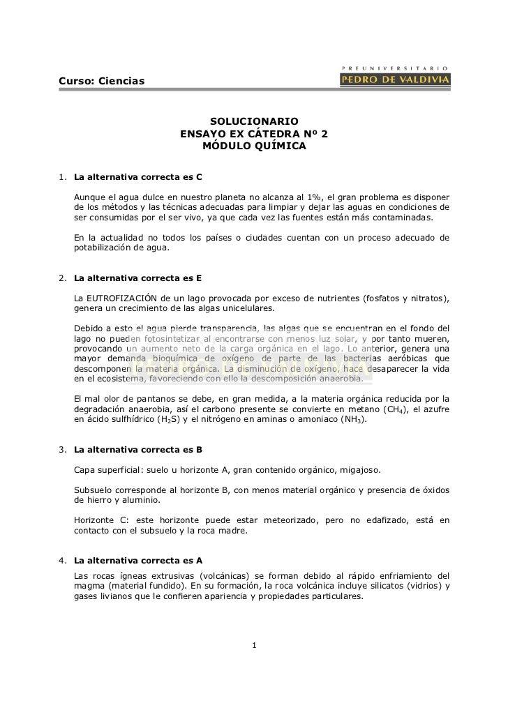 Curso: Ciencias                                SOLUCIONARIO                            ENSAYO EX CÁTEDRA Nº 2             ...