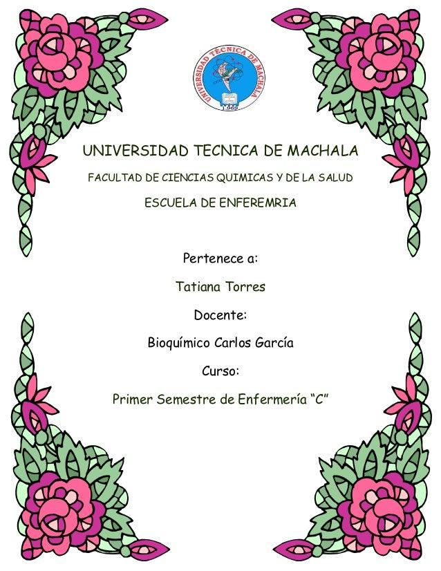 UNIVERSIDAD TECNICA DE MACHALA FACULTAD DE CIENCIAS QUIMICAS Y DE LA SALUD  ESCUELA DE ENFEREMRIA  Pertenece a: Tatiana To...