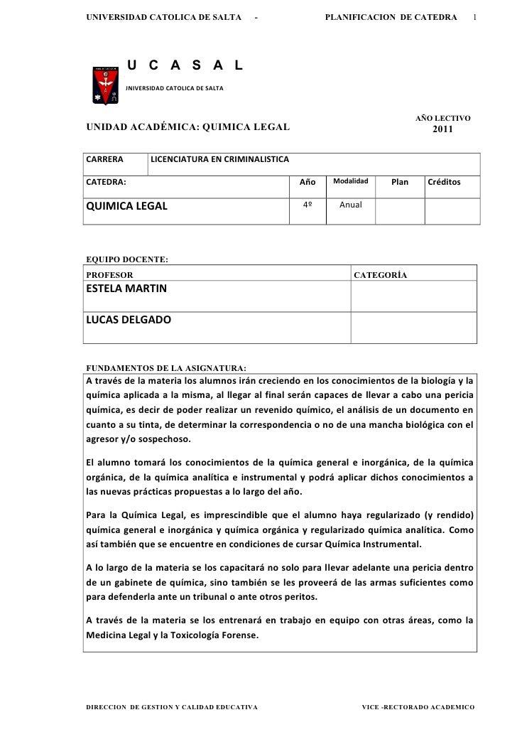 UNIVERSIDAD CATOLICA DE SALTA             -             PLANIFICACION DE CATEDRA             1           U C A S A L      ...