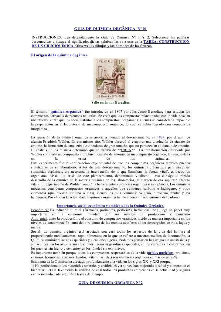GUIA DE QUIMICA ORGÀNICA Nº 01INSTRUCCIONES: Lea detenidamente la Guìa de Quìmica Nº 1 Y 2. Seleccione las palabrasdescono...