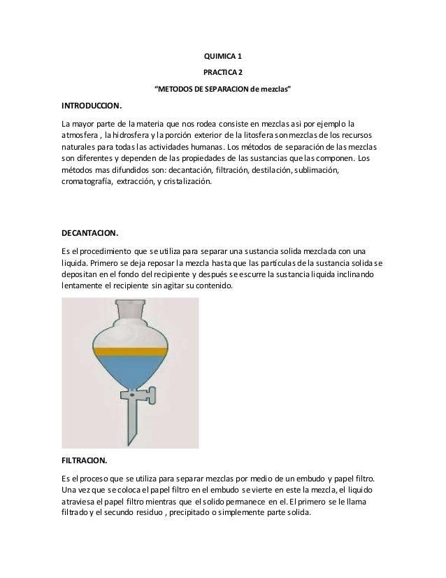 Quimica practica 2 - Separacion de bienes despues de casados ...