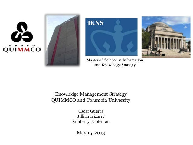 IKNSMaster of Science in Informationand Knowledge StrategyKnowledge Management StrategyQUIMMCO and Columbia UniversityOsca...