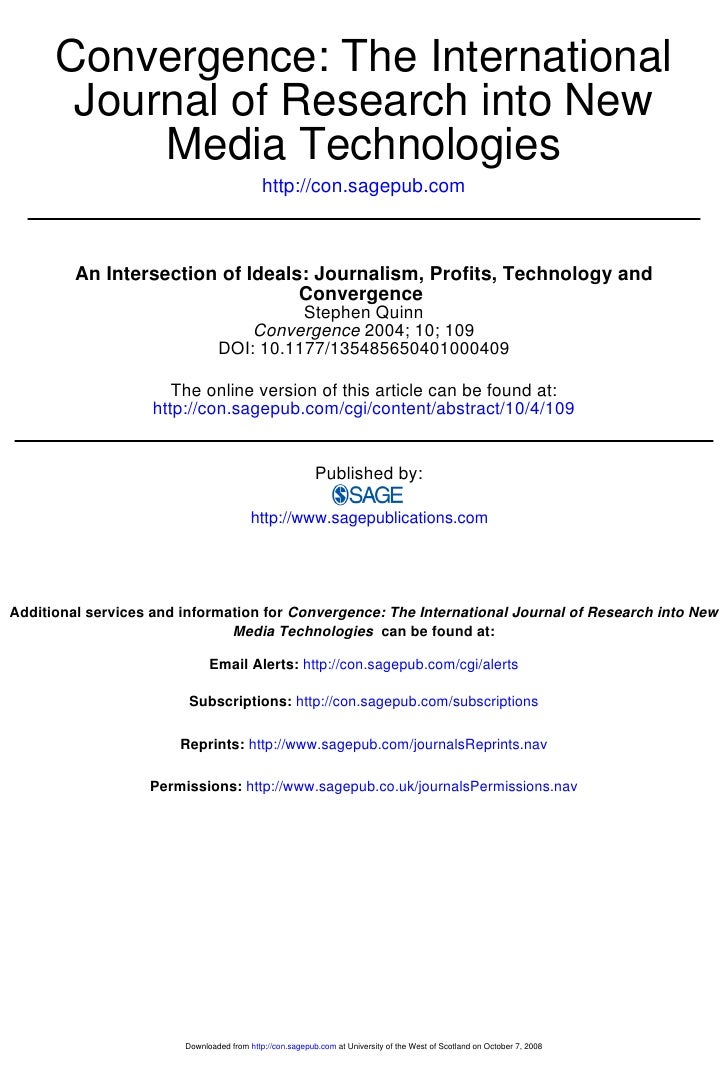Convergence: The International        Journal of Research into New            Media Technologies                          ...