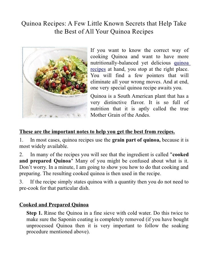 Quinoa recipes: A Few Little Known Secrets that Help Take the Best of All Your Quinoa Recipes