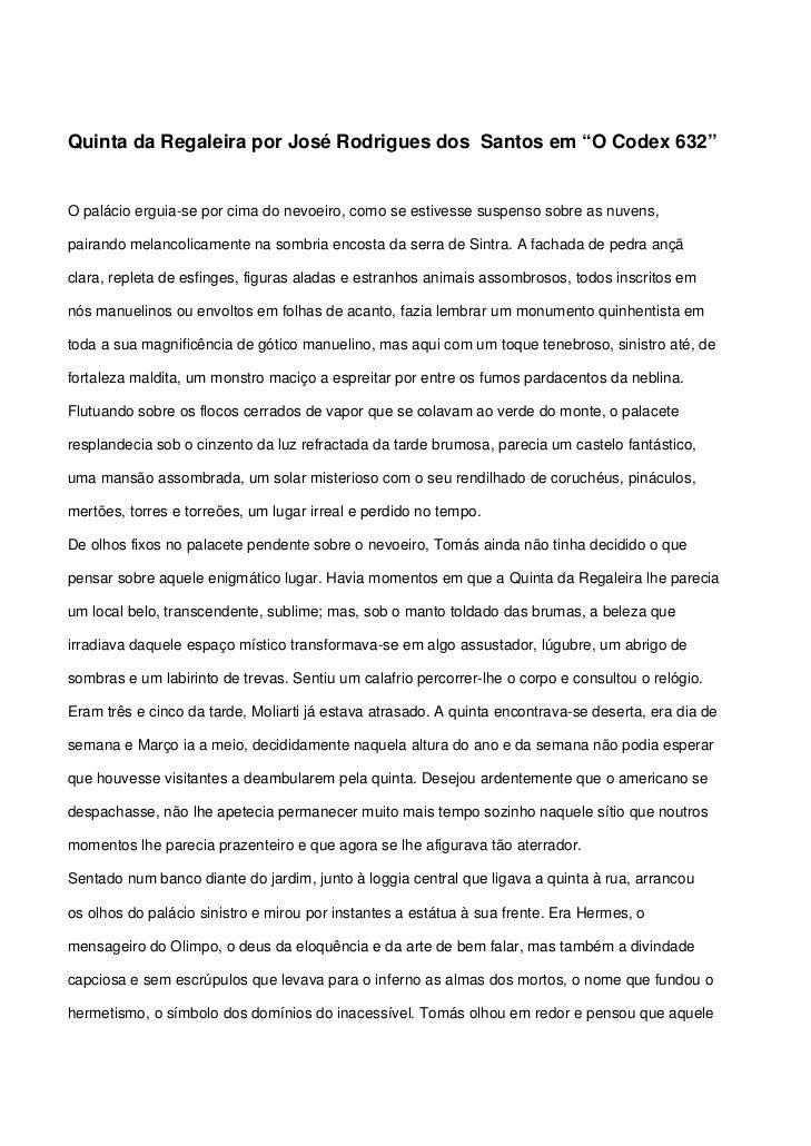 """Quinta da Regaleira por José Rodrigues dos Santos em """"O Codex""""632"""