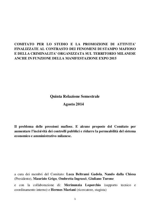 Quinta relazione semestrale Comitato Antimafia Milano