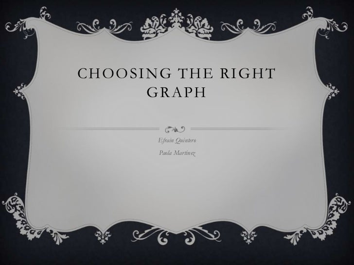 CHOOSING THE RIGHT      GRAPH       Efrain Quintero       Paola Martinez