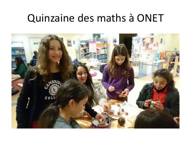 Quinzaine des maths à ONET