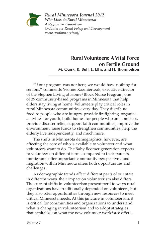 Rural Minnesota Journal: Rural Volunteers