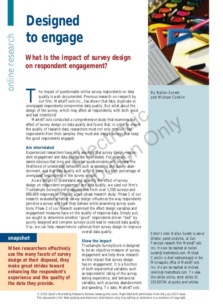 Designed                  to engageonline research                  What is the impact of survey design                  o...