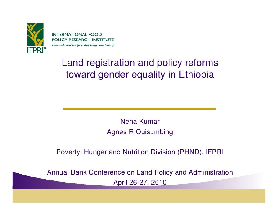Land registration and p            g              policy reforms                                y      toward gender equal...