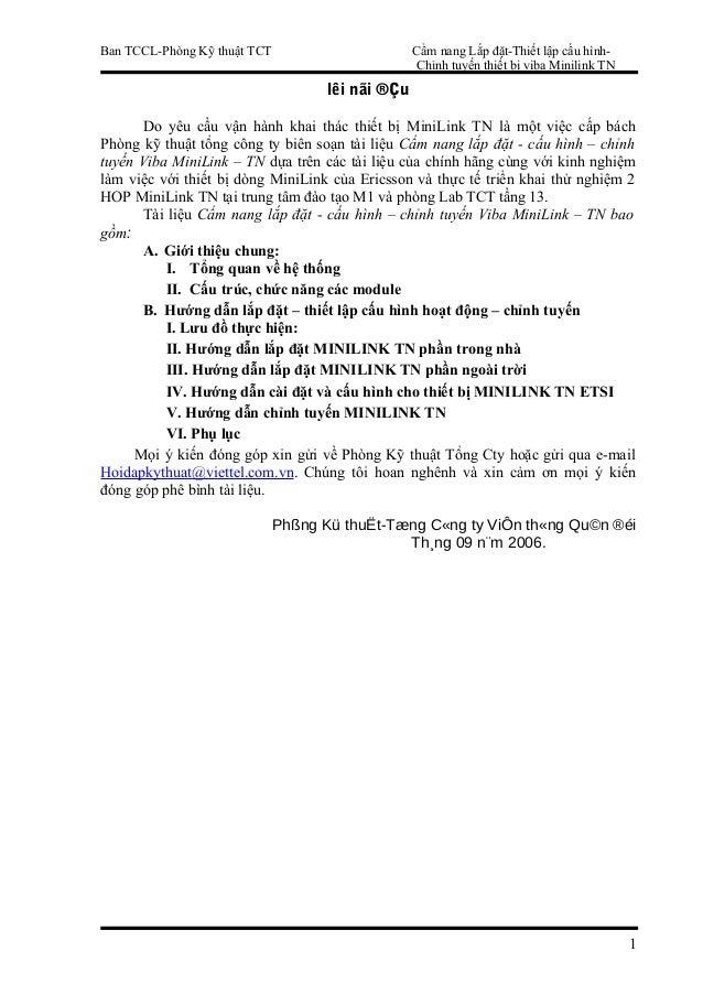 Ban TCCL-Phòng Kỹ thuật TCT  Cẩm nang Lắp đặt-Thiết lập cấu hìnhChỉnh tuyến thiết bị viba Minilink TN  lêi nãi ®Çu Do yêu ...
