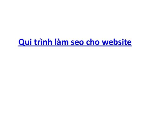 Qui trình làm seo cho website