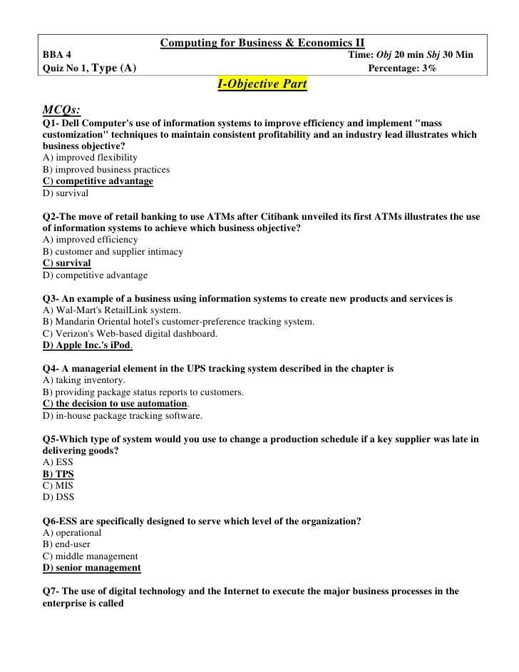 Computing for Business & Economics II<br />BBA 4 Time: Obj 20 min Sbj 30 Min<br />Quiz No 1, Type (A)        Percentage: 3...